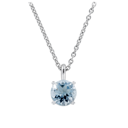 Pendant 4 Prongs Aquamarine blue in Platinum