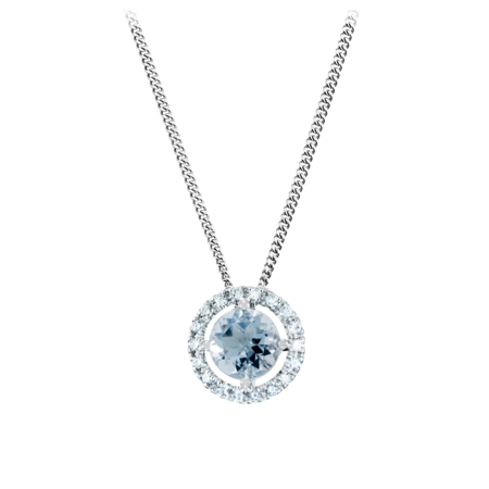 Pendant Halo Aquamarine blue in White Gold