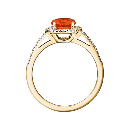 Prague Fire Opal orange in Yellow Gold