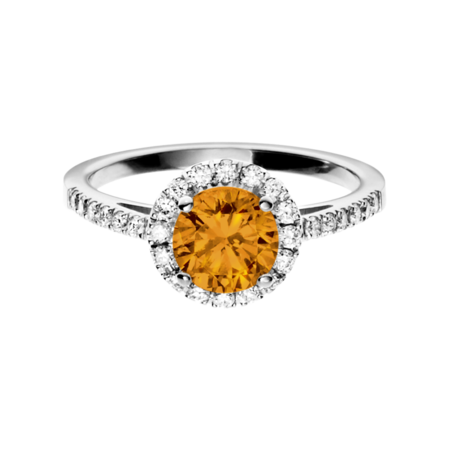 Prague Madeira Citrine orange in Platinum