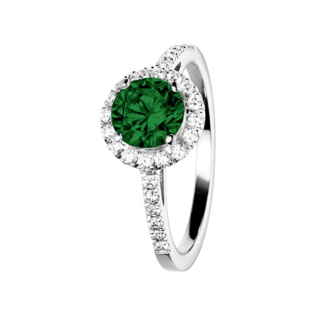 Prague Tourmaline green in White Gold