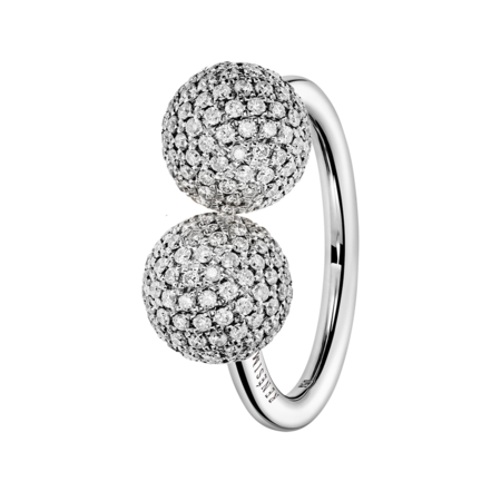 Ring Diamond & Diamond in White Gold
