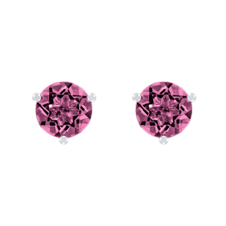 Stud Earrings 3 Prongs Tourmaline pink in Platinum