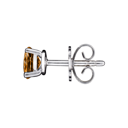 Stud Earrings 4 Prongs Madeira Citrine orange in White Gold