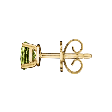 Stud Earrings 4 Prongs Peridot green in Yellow Gold