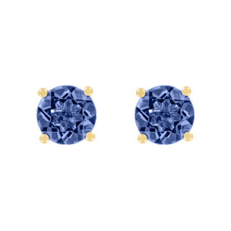 Stud Earrings 4 Prongs Tanzanite blue in Yellow Gold