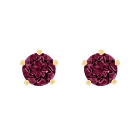 Stud Earrings 5 Prongs Rhodolite red in Yellow Gold