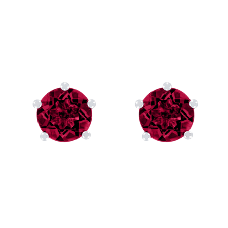 Stud Earrings 5 Prongs Ruby red in Platinum