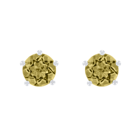 Stud Earrings 5 Prongs Sapphire yellow in White Gold