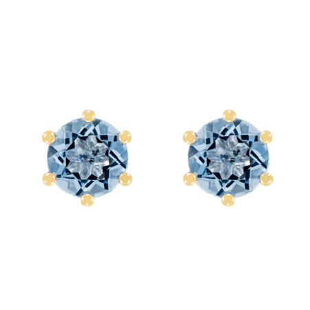 Stud Earrings 6 Prongs Aquamarine blue in Yellow Gold