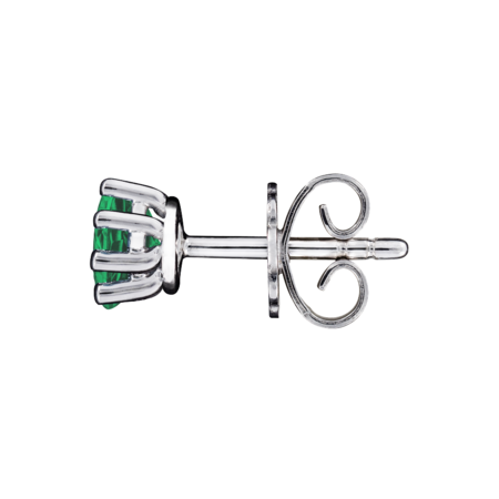 Stud Earrings 6 Prongs Emerald green in White Gold