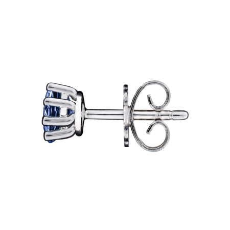Stud Earrings 6 Prongs Tanzanite blue in Platinum