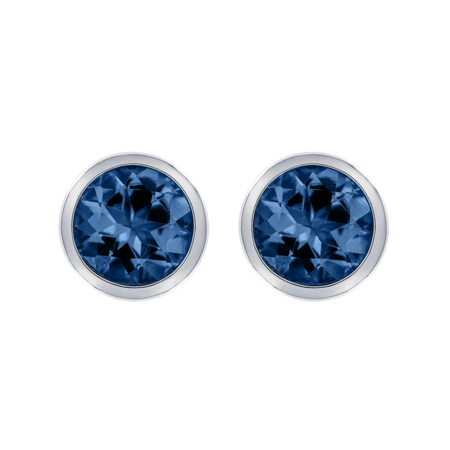 Stud Earrings Bezel Sapphire blue in White Gold