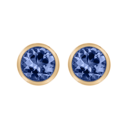 Stud Earrings Bezel Tanzanite blue in Rose Gold