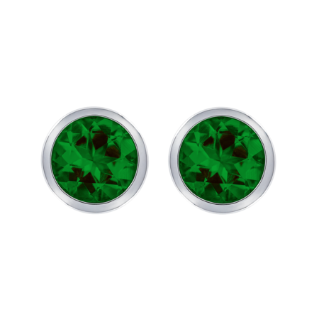 Stud Earrings Bezel Tourmaline green in Platinum