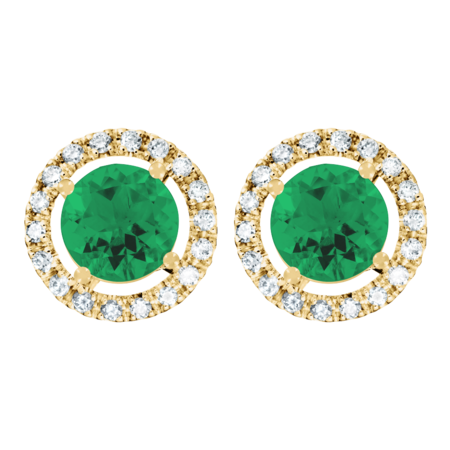 Stud Earrings Halo Emerald green in Yellow Gold