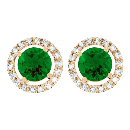 Stud Earrings Halo Tourmaline green in Rose Gold