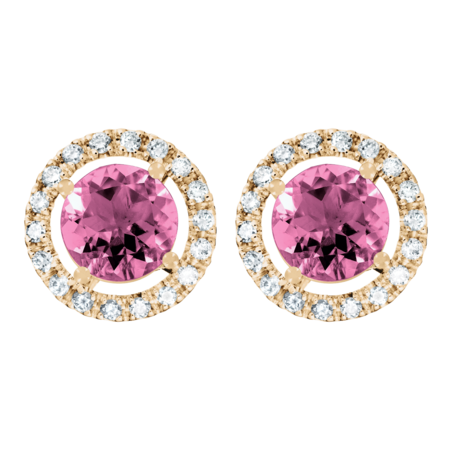 Stud Earrings Halo Tourmaline pink in Rose Gold