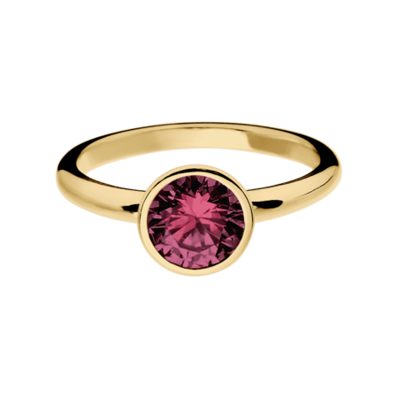 Vienna Rhodolite red in Yellow Gold