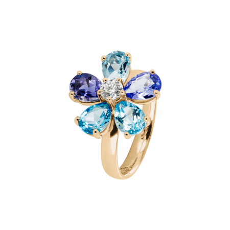 Bague Flowers bleue in Or rose