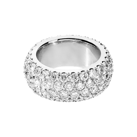 Diamond Snow Bague Large in Or gris