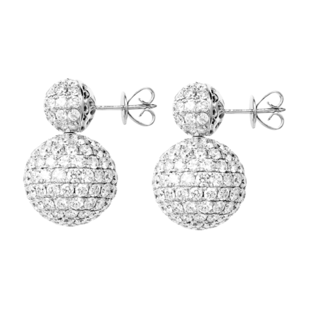 Diamond Snow Boucles d'oreilles in Or gris