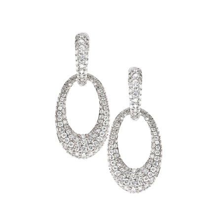 Diamond Snow Pendants d'oreilles diamants in Or gris