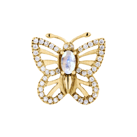 Pin Papillon Pierre de lune in Or jaune