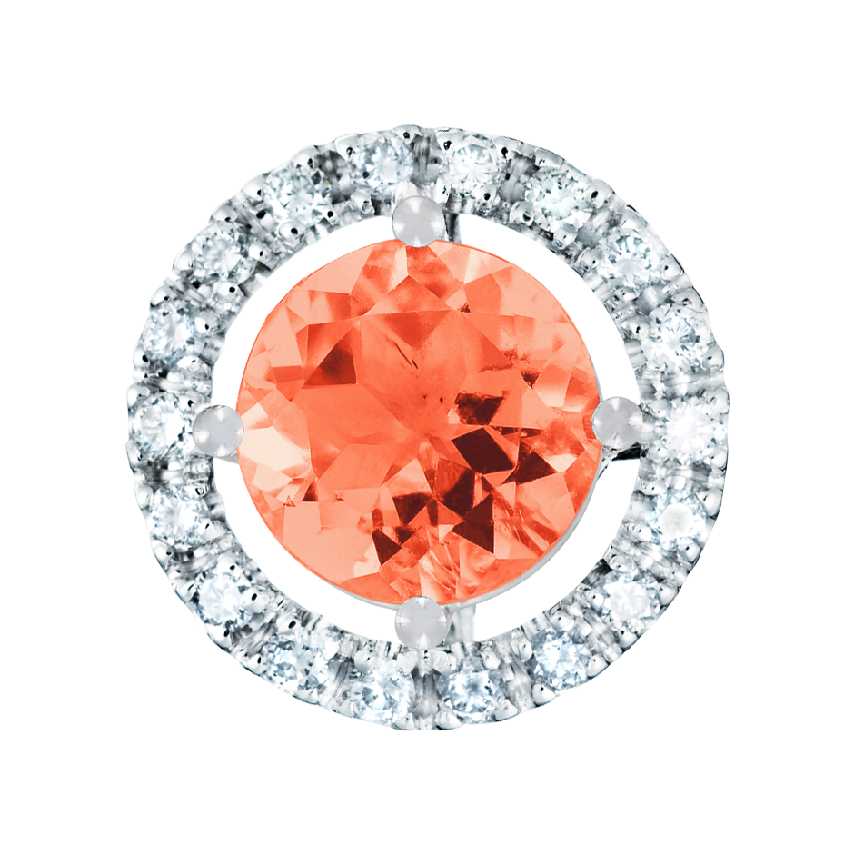Anhänger Halo Feueropal orange in Platin