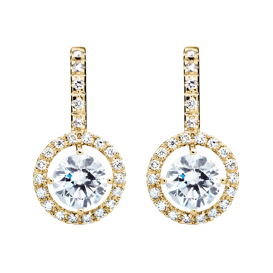 Boucles d'oreilles Halo Diamant avec brillants in Or jaune