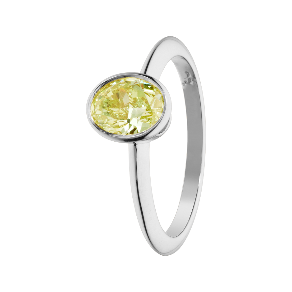 Diamantring Fancy Yellow in Weißgold