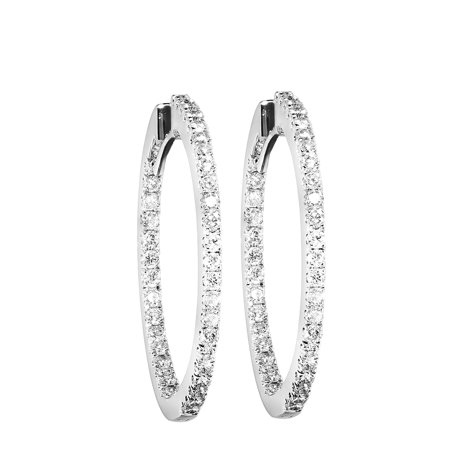 Diamond Hoop Earrings III in White Gold