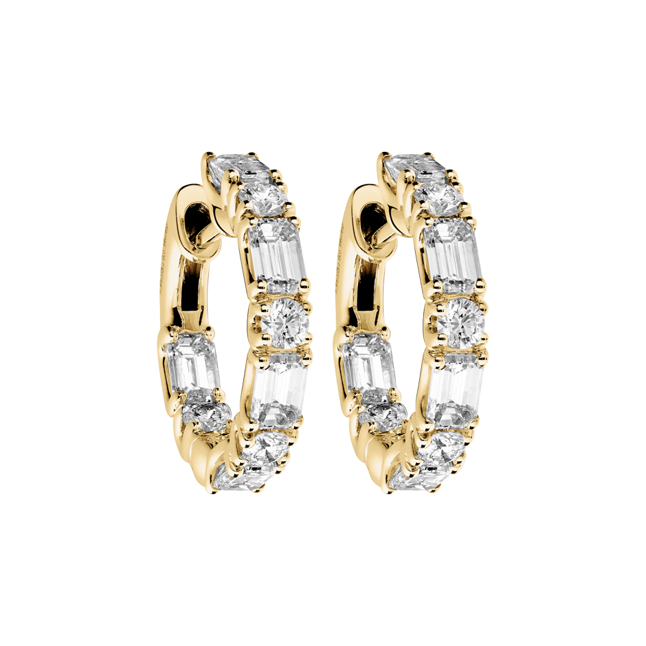 Diamond Hoop Earrings IX in Yellow Gold