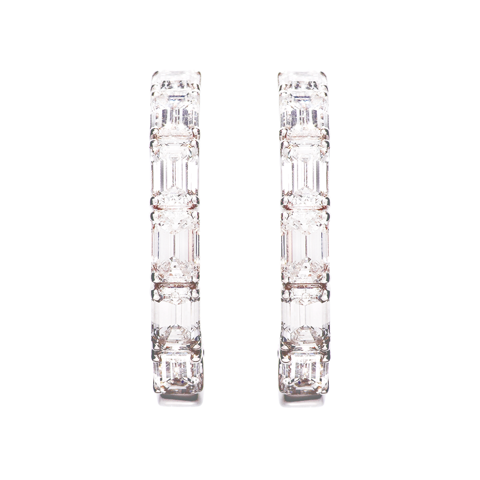 Diamond Hoop Earrings VII in White Gold