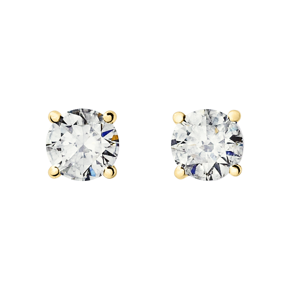 Diamond Stud Earrings 4 Prongs in Yellow Gold