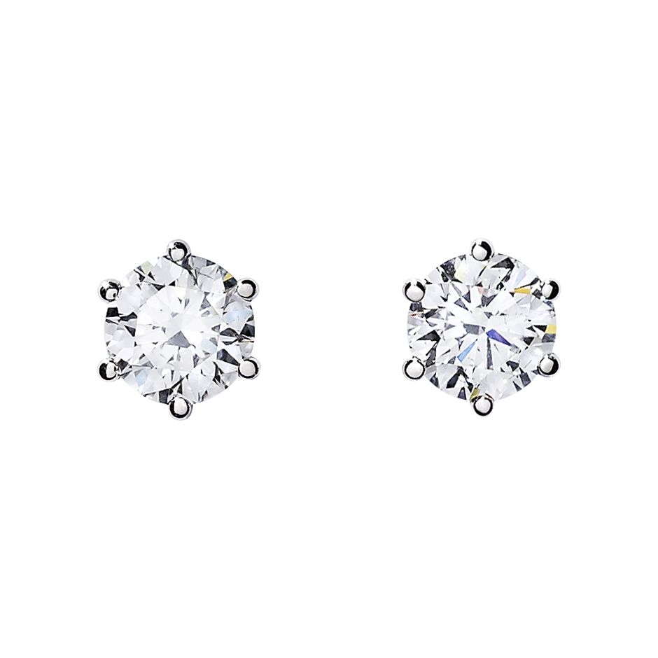 Diamond Stud Earrings 6 Prongs in Platinum