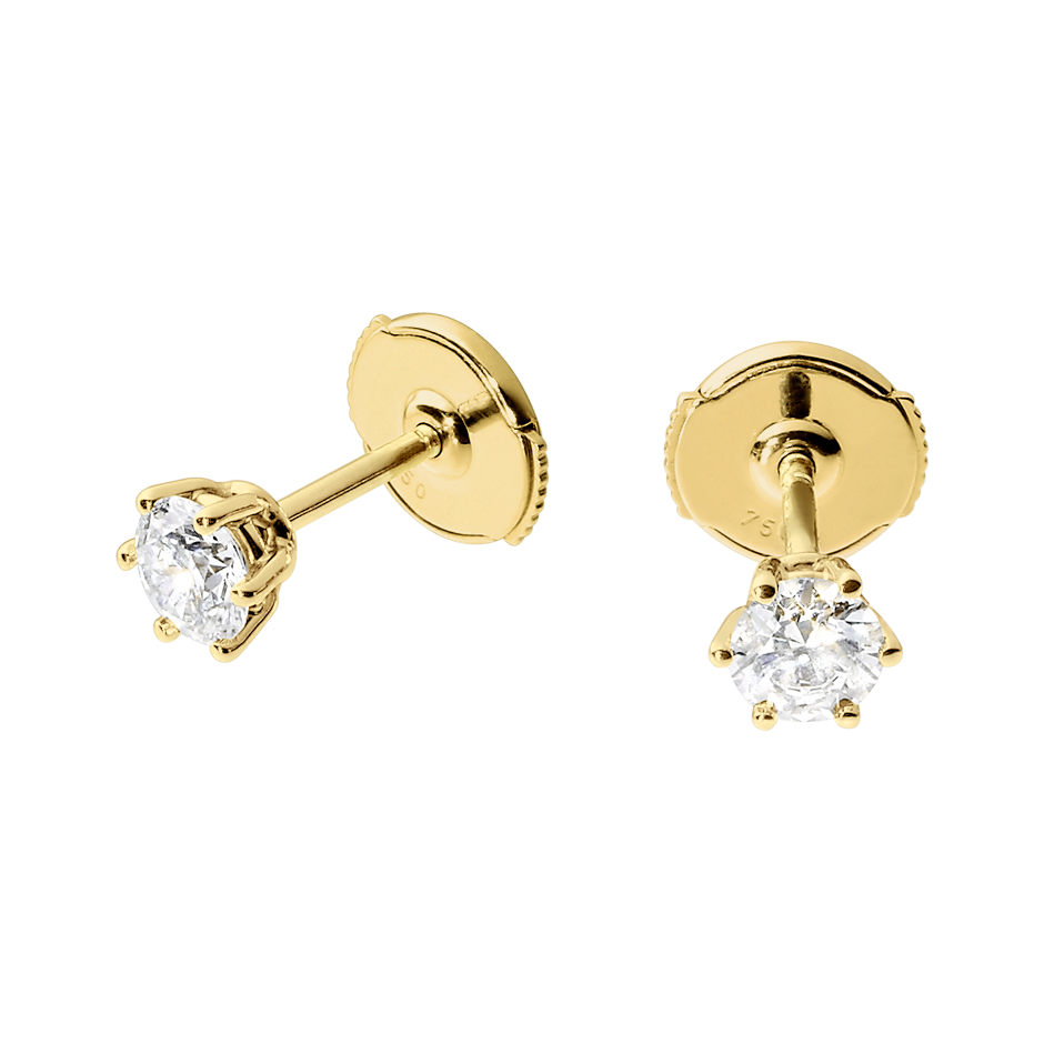 Diamond Stud Earrings 6 Prongs in Yellow Gold