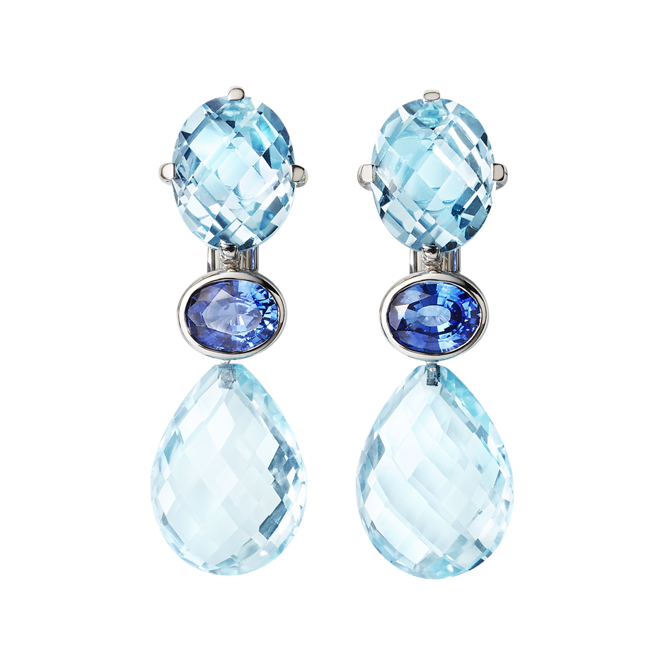 Earrings Blue Mountains in White Gold