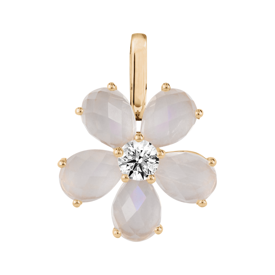 Flowers Pendant Moonstone in Rose Gold