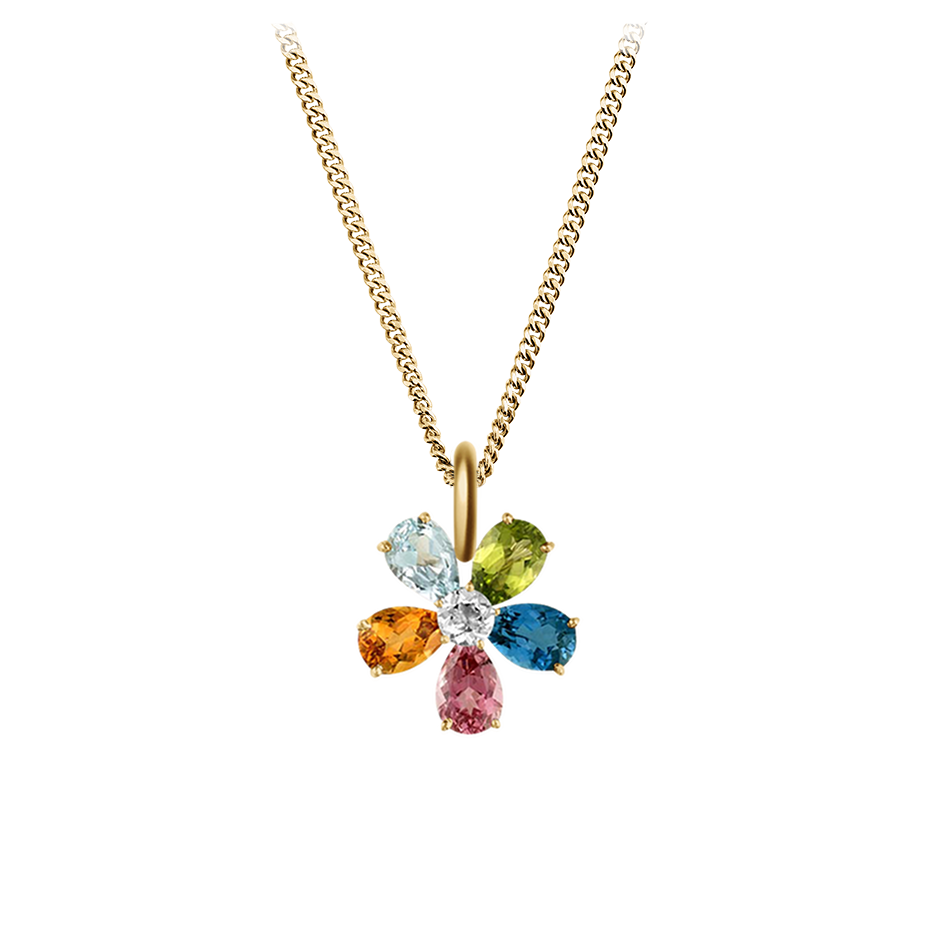 Flowers Pendant in Yellow Gold