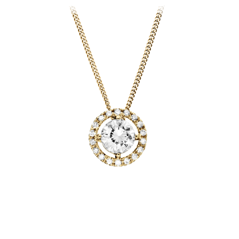Halo Diamond Pendant with Brilliants in Yellow Gold