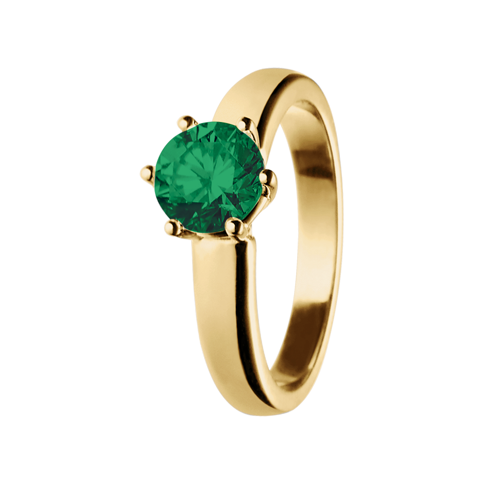 Malmö Emerald green in Yellow Gold