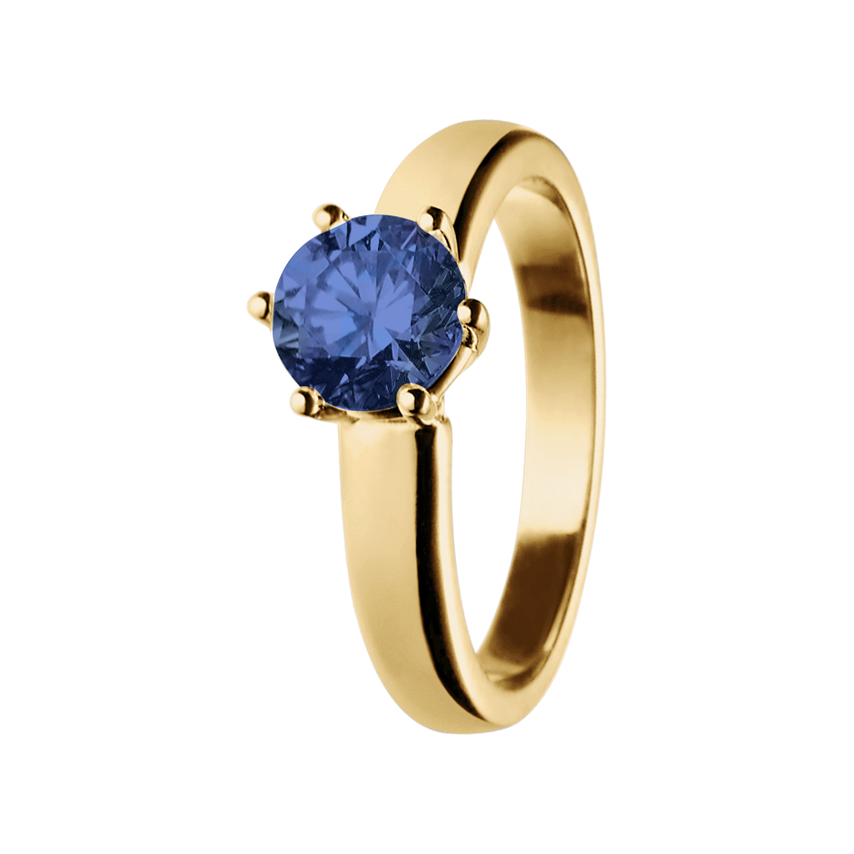 Malmö Tanzanite blue in Yellow Gold
