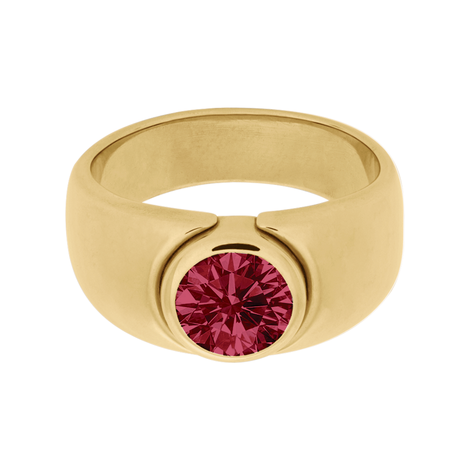 Mantua Ruby red in Yellow Gold