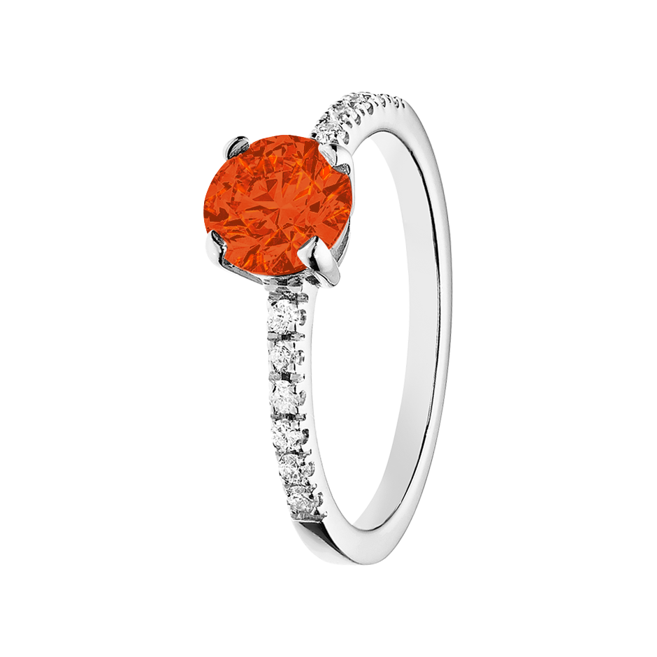 Melbourne Fire Opal orange in White Gold