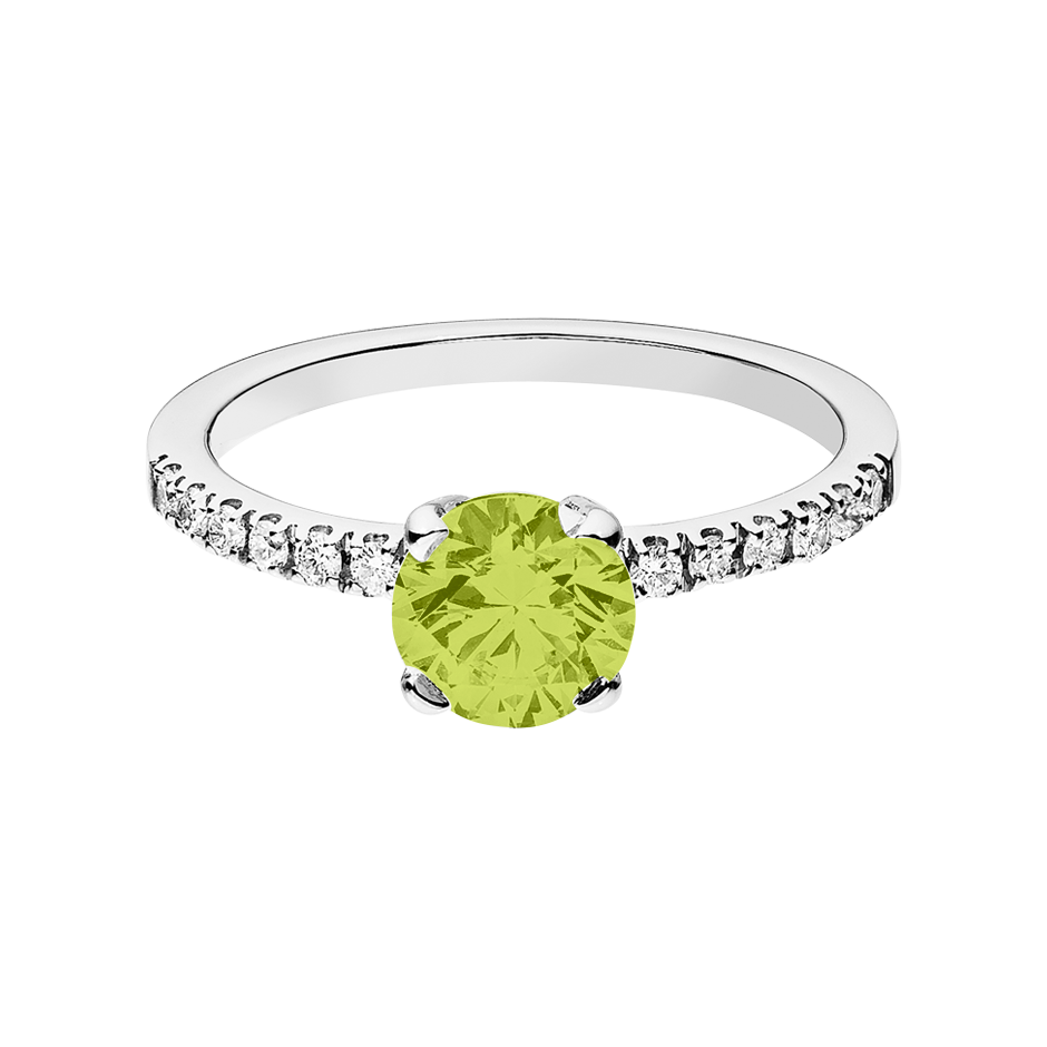 Melbourne Peridot green in White Gold