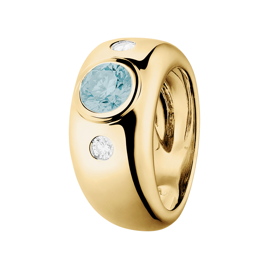 Naples Aquamarin blau in Gelbgold