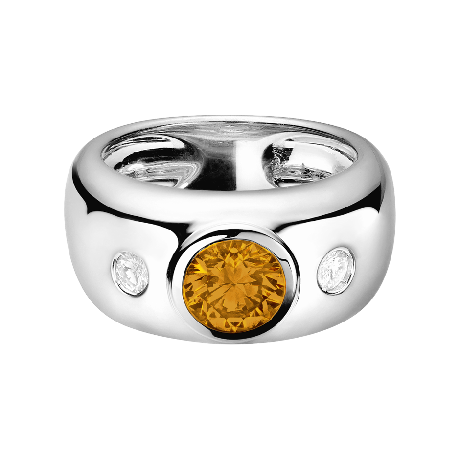Naples Madeira Citrine orange in White Gold