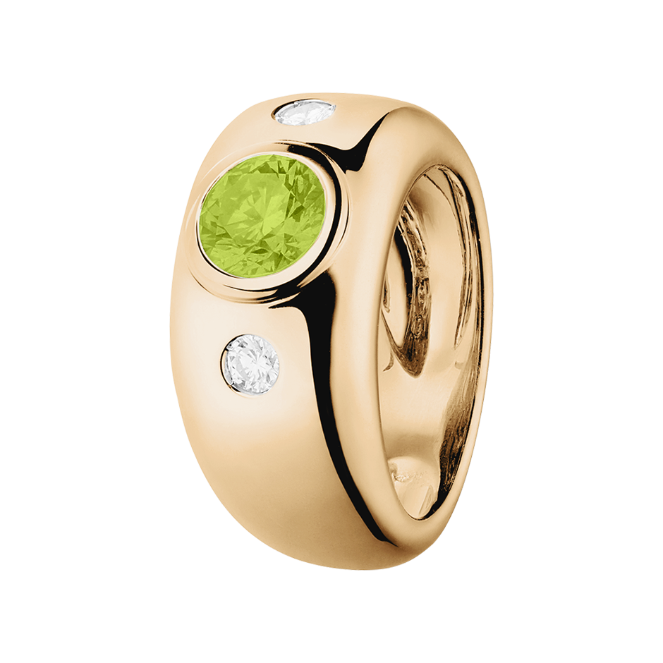 Naples Peridot green in Rose Gold
