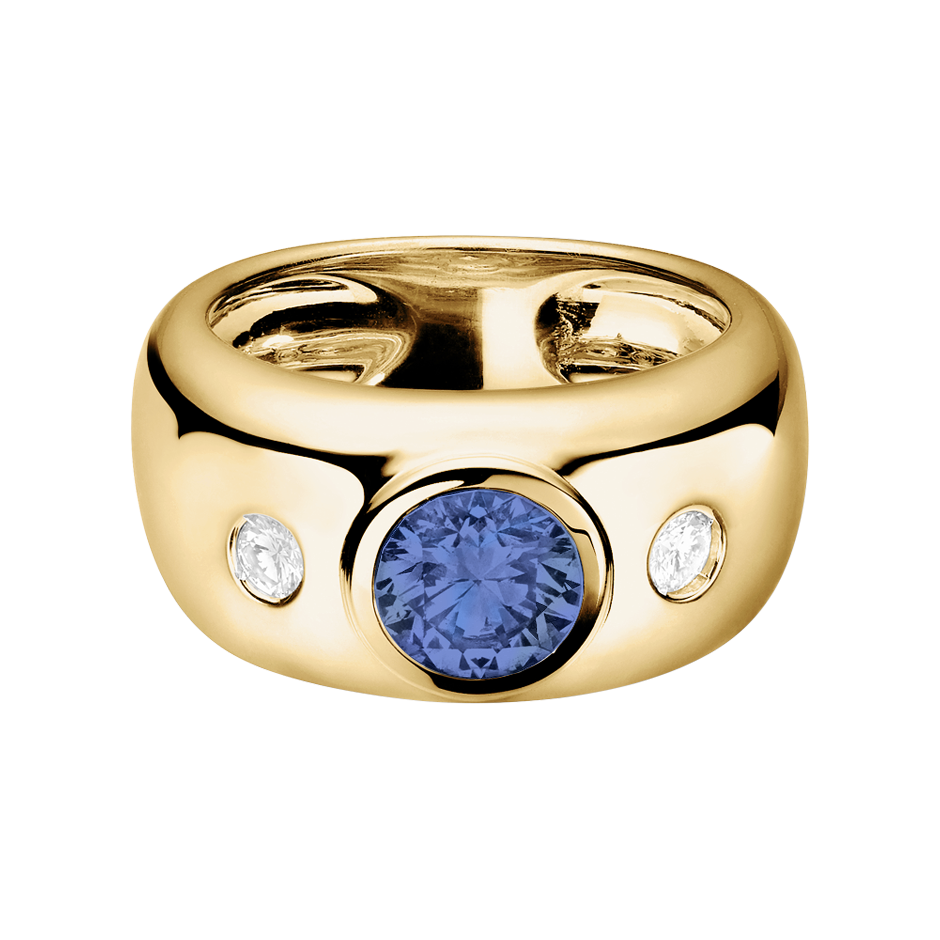 Naples Tanzanite blue in Yellow Gold